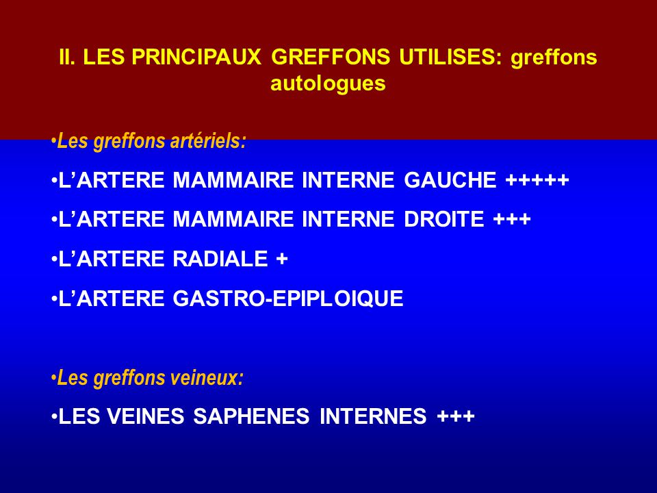 II. LES PRINCIPAUX GREFFONS UTILISES: greffons autologues