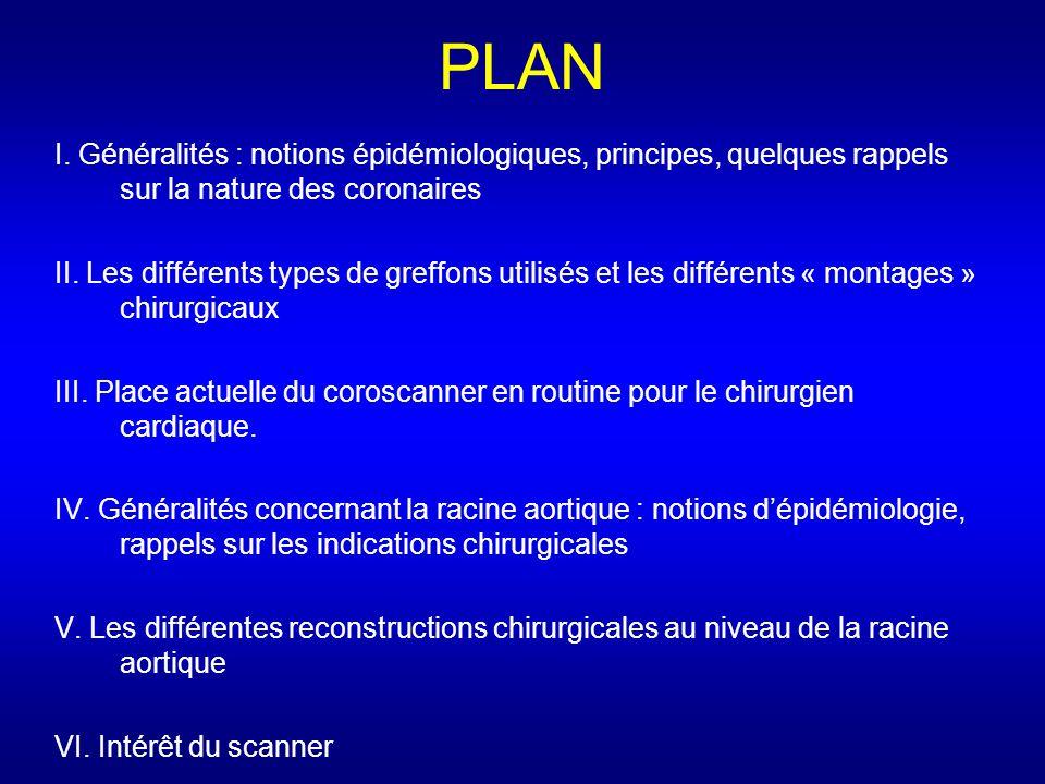 PLAN I. Généralités : notions épidémiologiques, principes, quelques rappels sur la nature des coronaires.