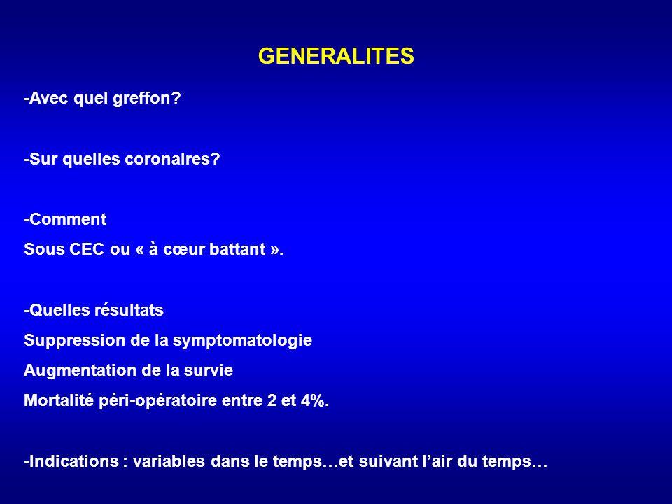 GENERALITES -Avec quel greffon -Sur quelles coronaires -Comment