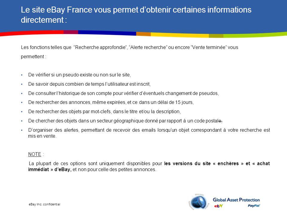 Le site eBay France vous permet d'obtenir certaines informations directement :