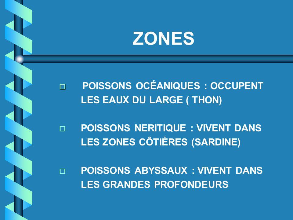 ZONES POISSONS OCÉANIQUES : OCCUPENT LES EAUX DU LARGE ( THON)