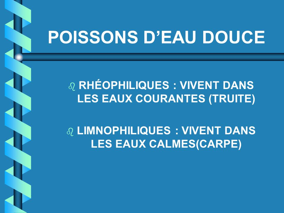 POISSONS D'EAU DOUCE RHÉOPHILIQUES : VIVENT DANS LES EAUX COURANTES (TRUITE) LIMNOPHILIQUES : VIVENT DANS LES EAUX CALMES(CARPE)