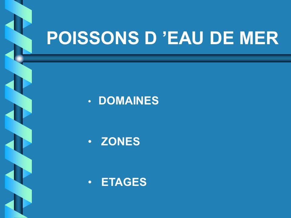 POISSONS D 'EAU DE MER DOMAINES ZONES ETAGES