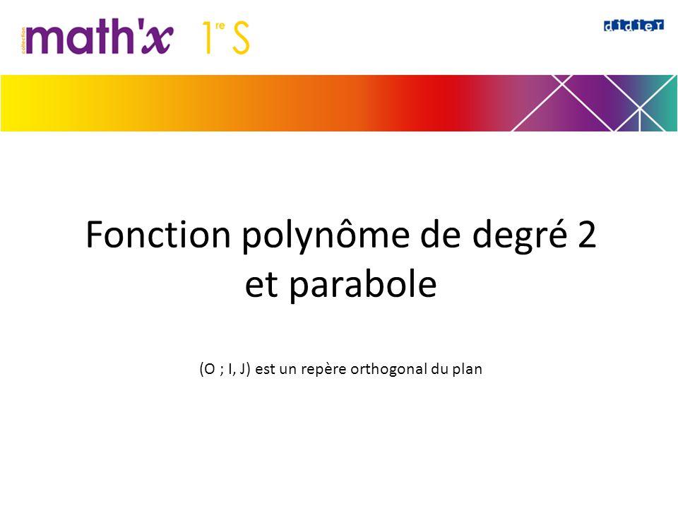 Fonction polynôme de degré 2 et parabole (O ; I, J) est un repère orthogonal du plan