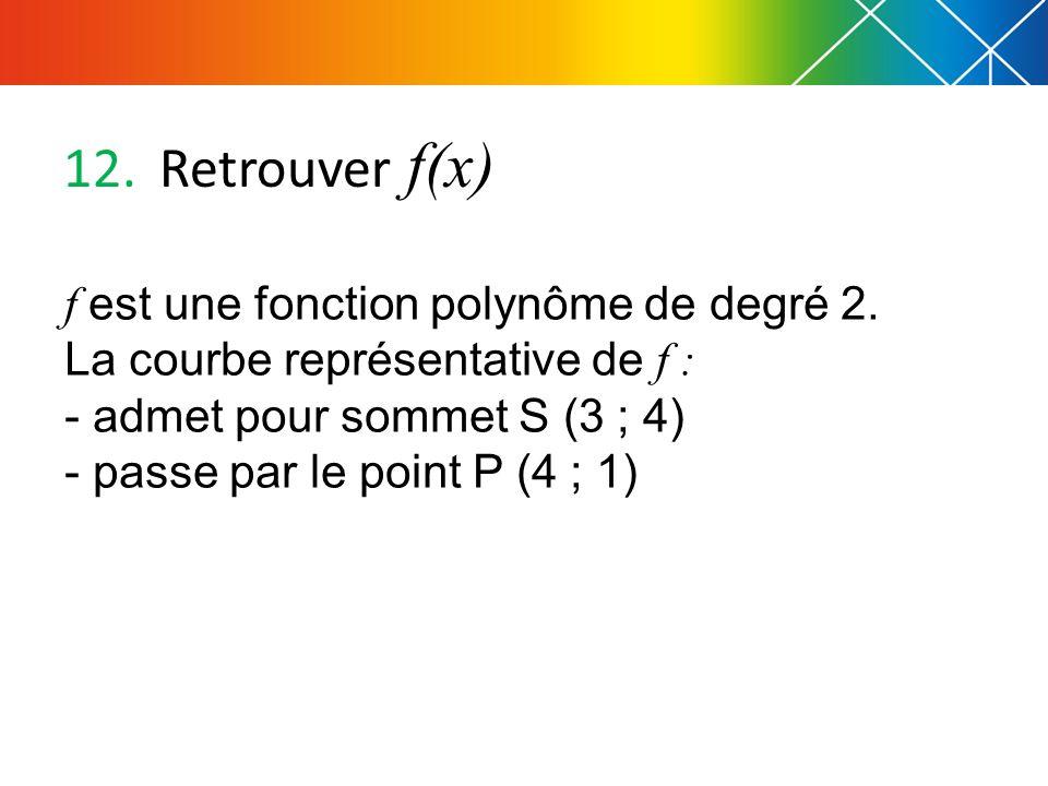 Retrouver f(x) f est une fonction polynôme de degré 2.