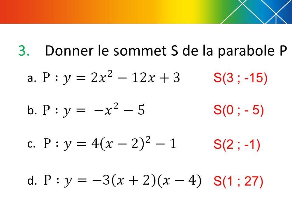 Donner le sommet S de la parabole P