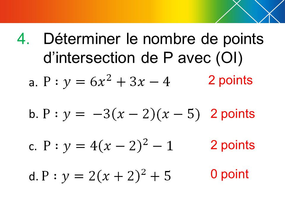 Déterminer le nombre de points d'intersection de P avec (OI)