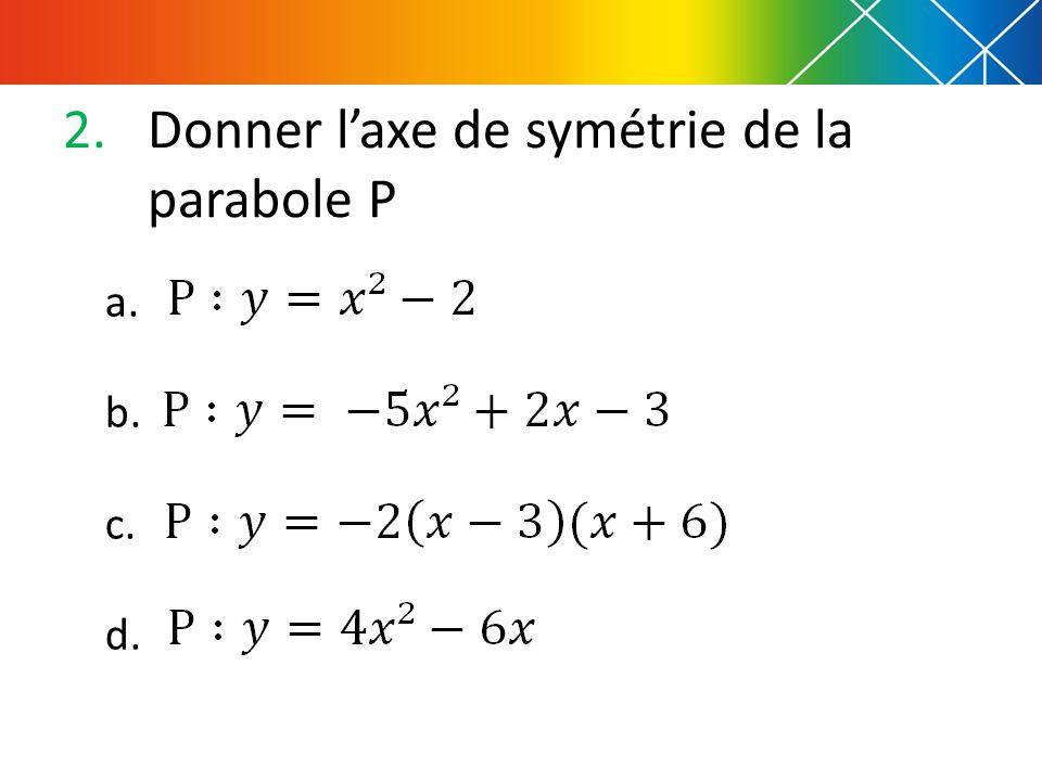 Donner l'axe de symétrie de la parabole P
