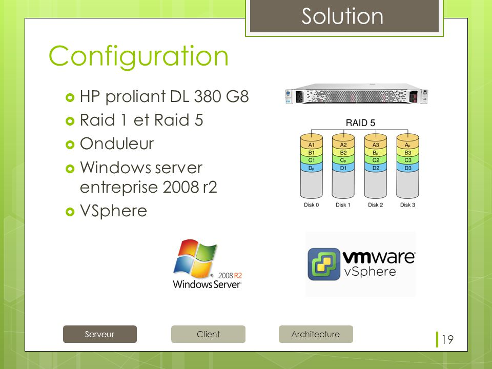 Configuration HP proliant DL 380 G8 Raid 1 et Raid 5 Onduleur