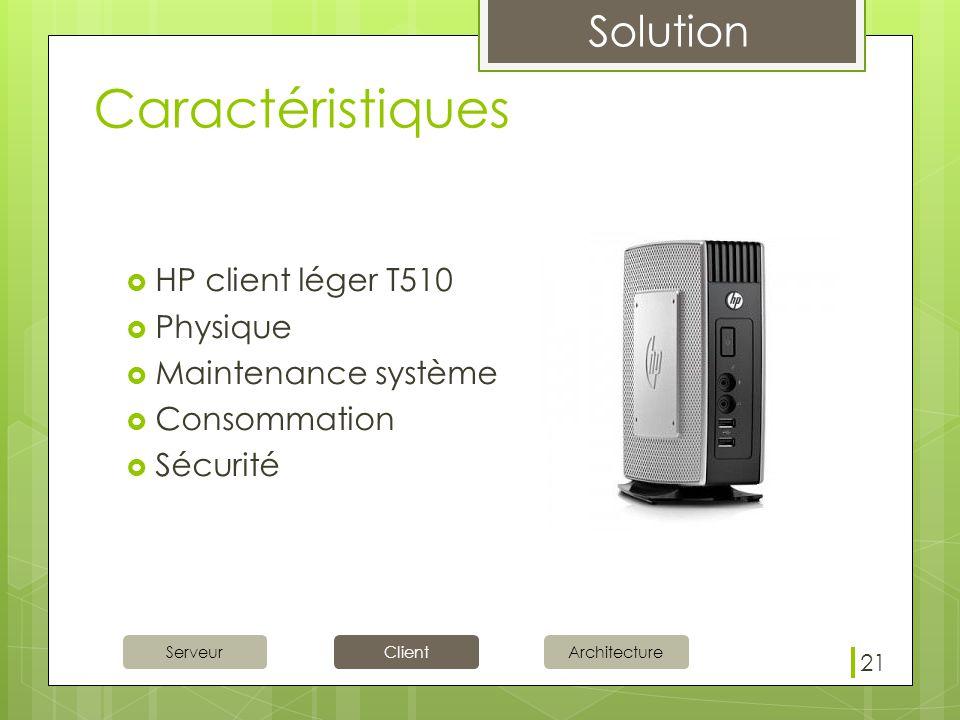 Caractéristiques HP client léger T510 Physique Maintenance système