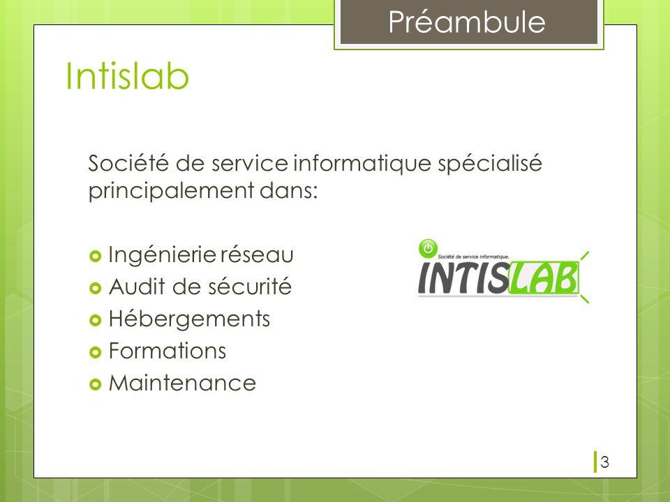 Intislab Société de service informatique spécialisé principalement dans: Ingénierie réseau. Audit de sécurité.