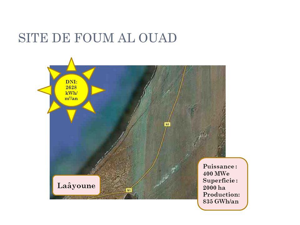 SITE DE FOUM AL OUAD Laâyoune Puissance : 400 MWe Superficie : 2000 ha