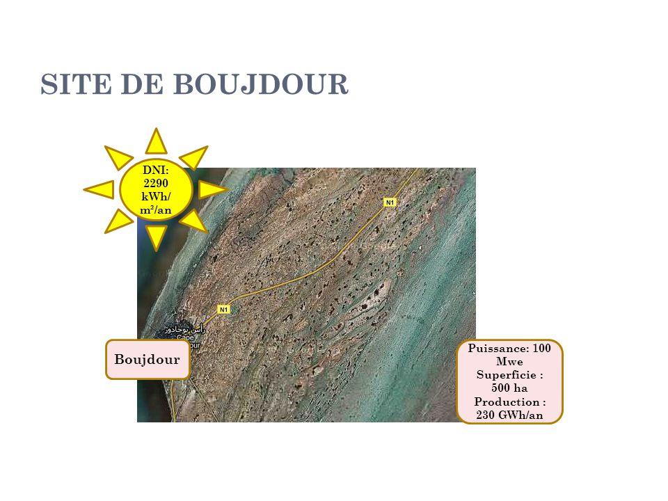 SITE DE BOUJDOUR Boujdour DNI: 2290 kWh/m²/an Puissance: 100 Mwe