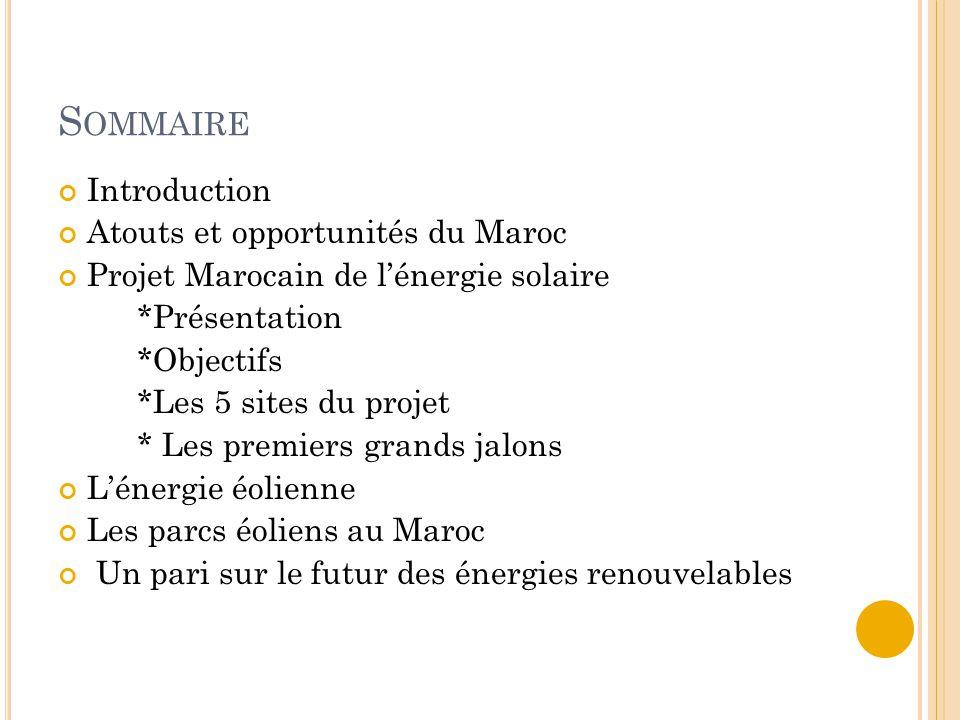 Sommaire Introduction Atouts et opportunités du Maroc