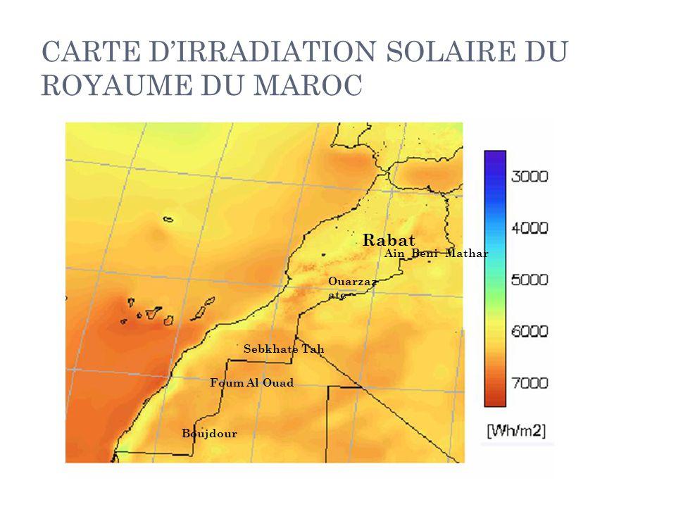 CARTE D'IRRADIATION SOLAIRE DU ROYAUME DU MAROC