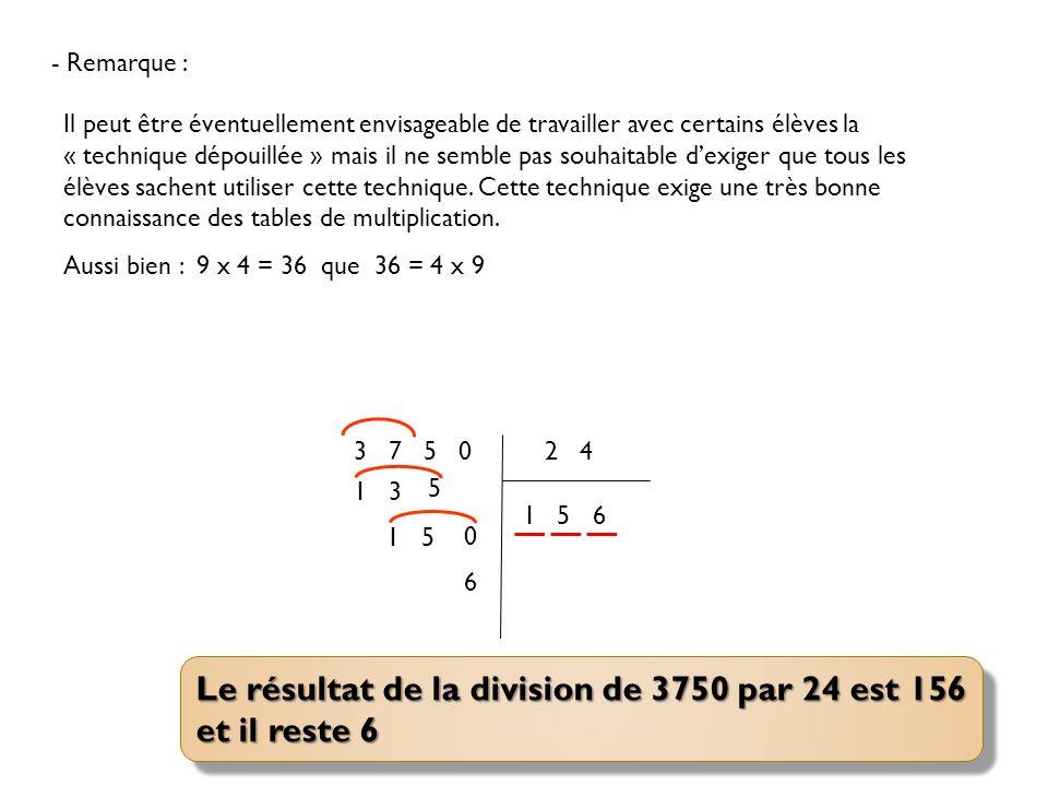 Le résultat de la division de 3750 par 24 est 156 et il reste 6