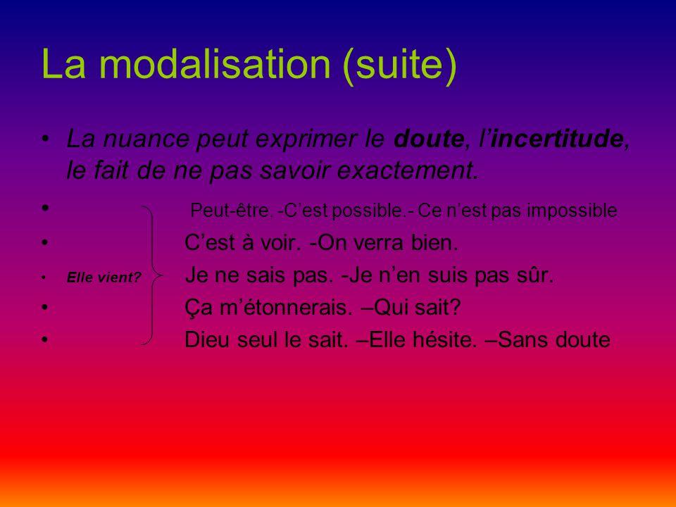 La modalisation (suite)