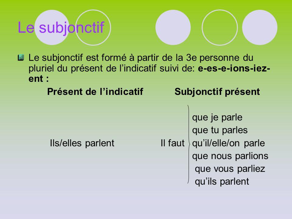 Le subjonctif Le subjonctif est formé à partir de la 3e personne du pluriel du présent de l'indicatif suivi de: e-es-e-ions-iez-ent :