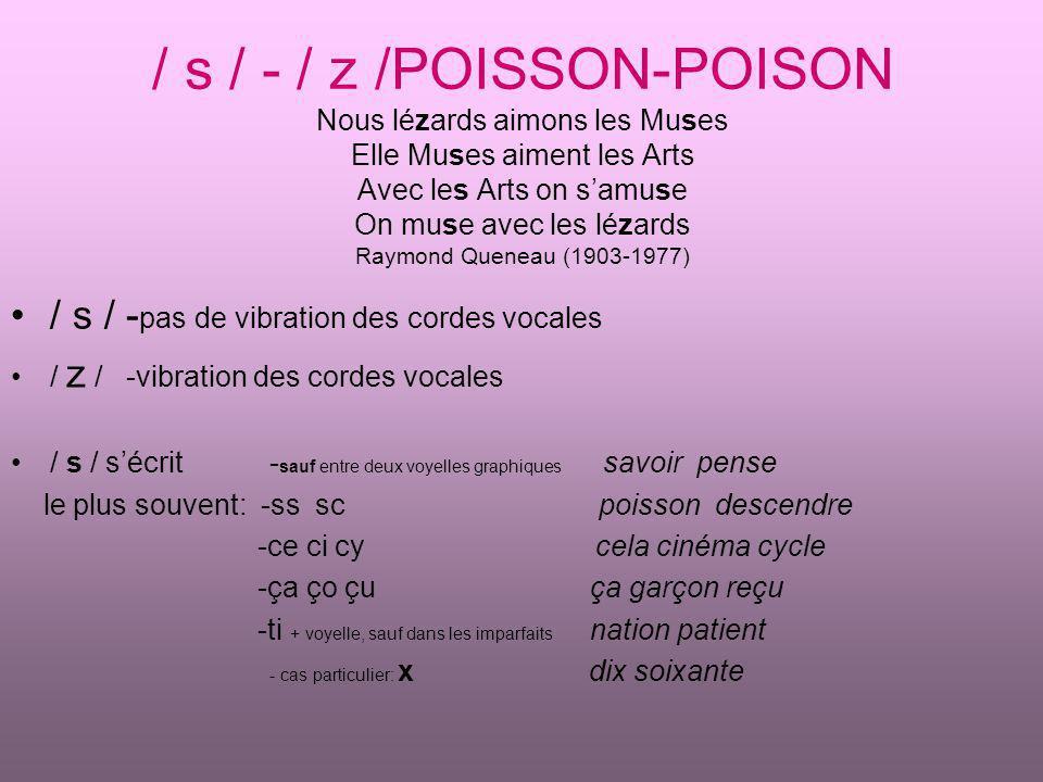 / s / - / z /POISSON-POISON Nous lézards aimons les Muses Elle Muses aiment les Arts Avec les Arts on s'amuse On muse avec les lézards Raymond Queneau (1903-1977)