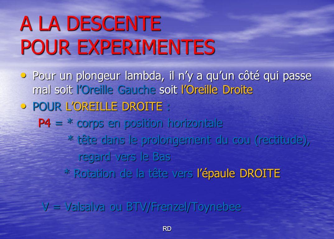 A LA DESCENTE POUR EXPERIMENTES