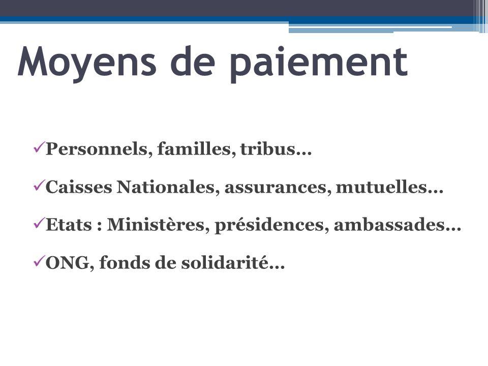 Moyens de paiement Personnels, familles, tribus…