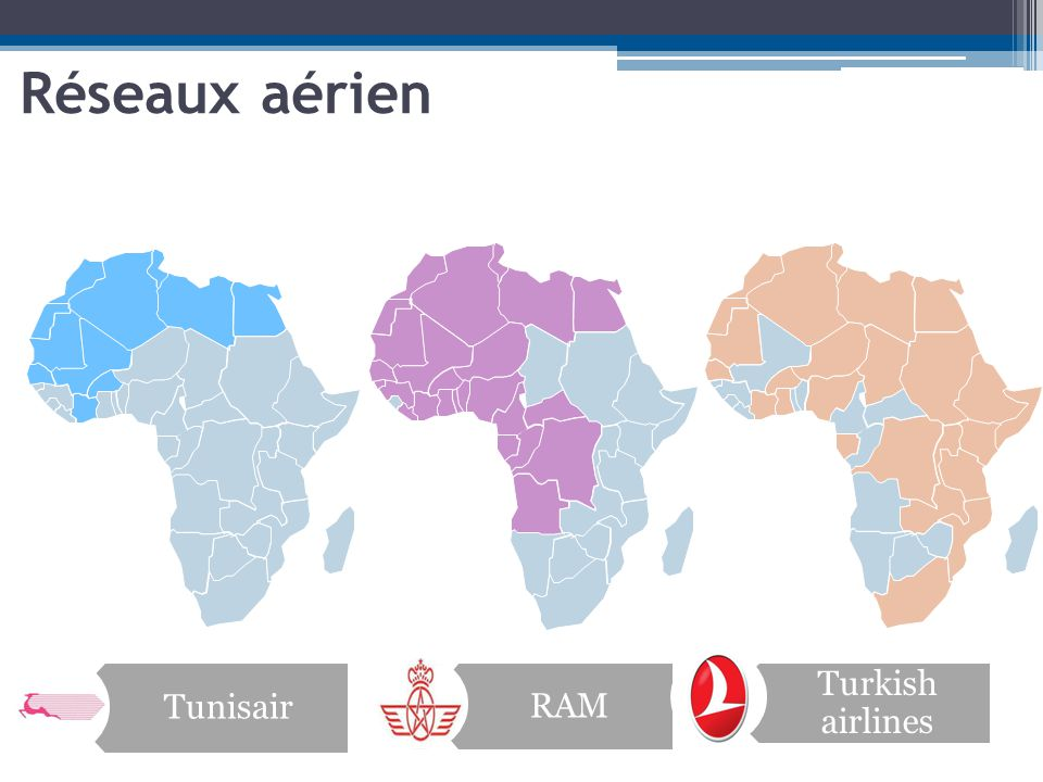 Réseaux aérien Tunisair RAM Turkish airlines