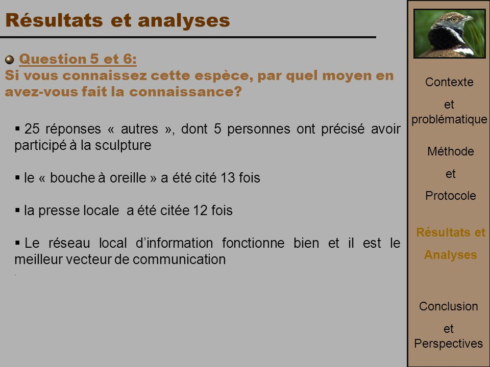 Résultats et analyses Question 5 et 6: