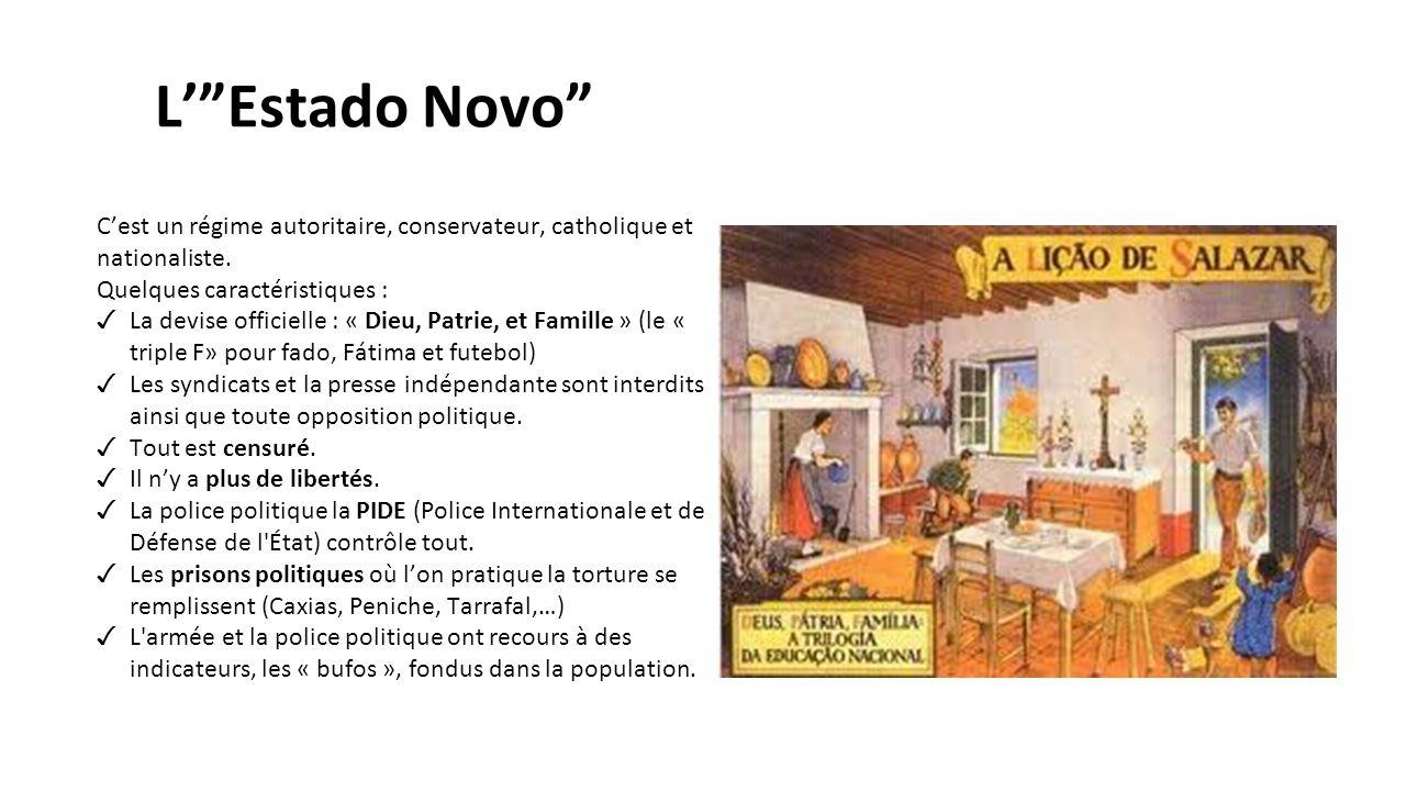 L' Estado Novo C'est un régime autoritaire, conservateur, catholique et nationaliste. Quelques caractéristiques :