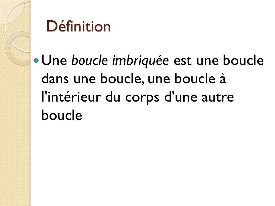 Définition Une boucle imbriquée est une boucle dans une boucle, une boucle à l intérieur du corps d une autre boucle.