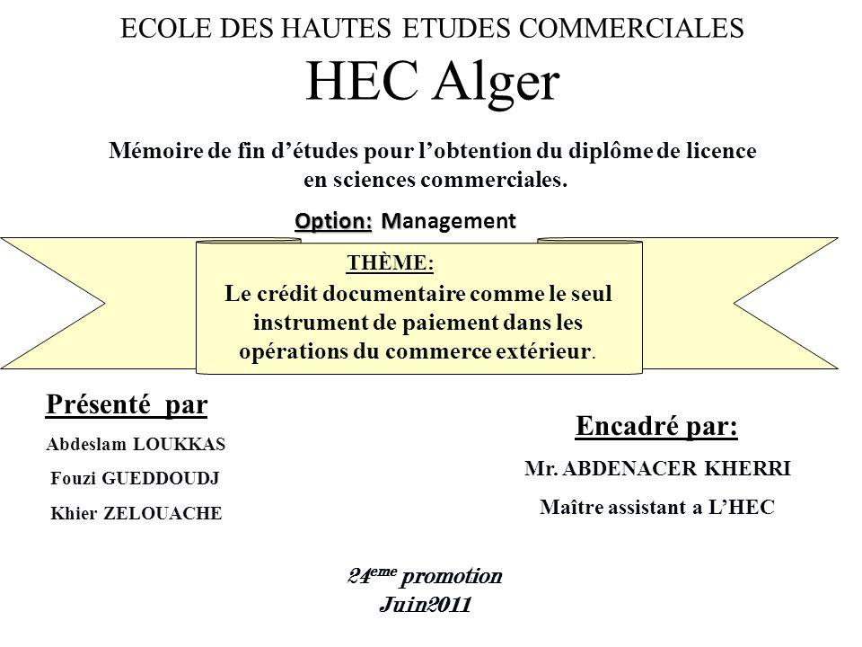 ECOLE DES HAUTES ETUDES COMMERCIALES HEC Alger