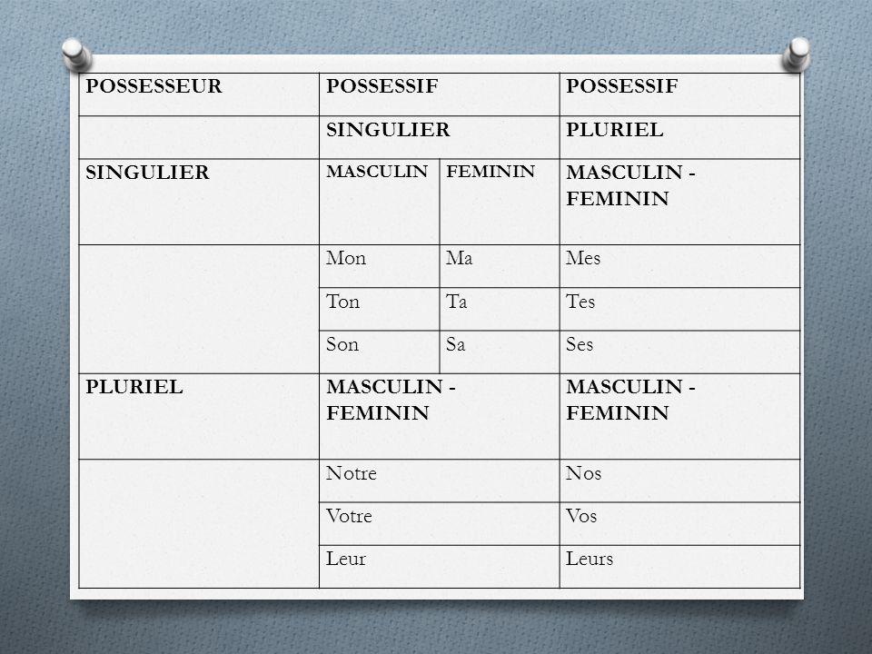 POSSESSEUR POSSESSIF SINGULIER PLURIEL MASCULIN - FEMININ Mon Ma Mes