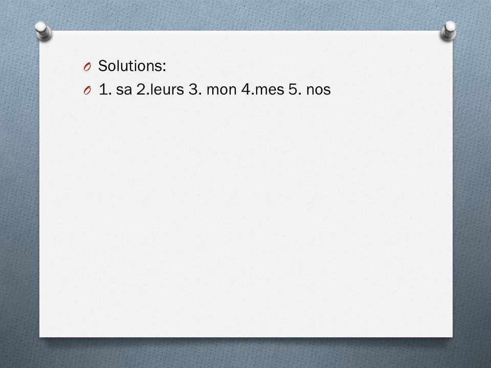 Solutions: 1. sa 2.leurs 3. mon 4.mes 5. nos