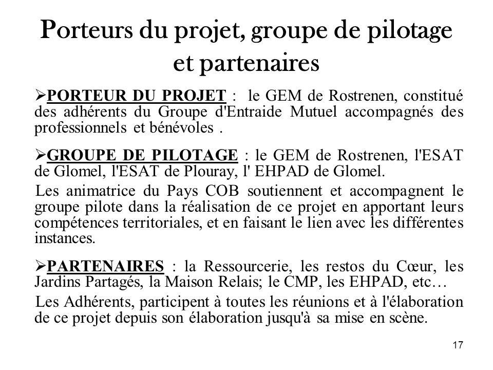 Porteurs du projet, groupe de pilotage et partenaires