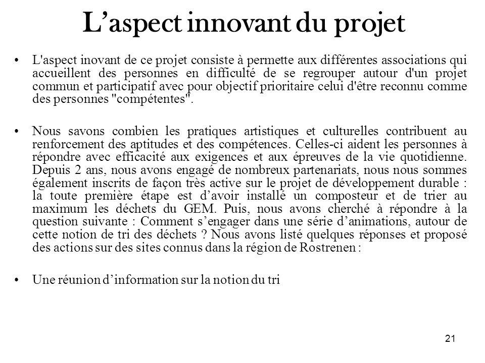 L'aspect innovant du projet