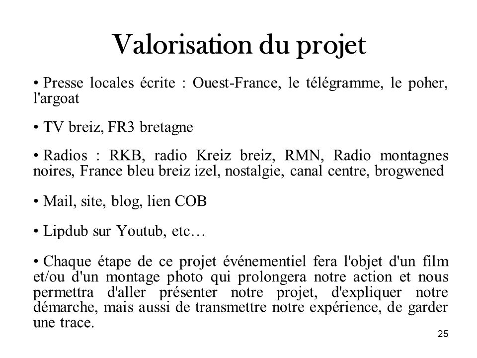 Valorisation du projet