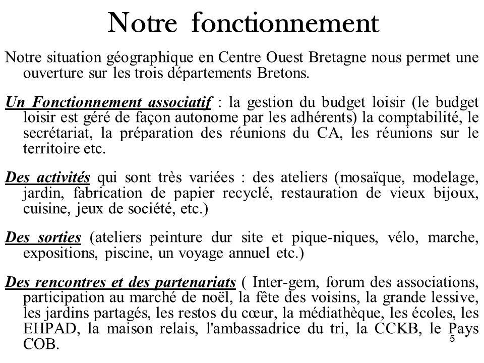 Notre fonctionnement Notre situation géographique en Centre Ouest Bretagne nous permet une ouverture sur les trois départements Bretons.