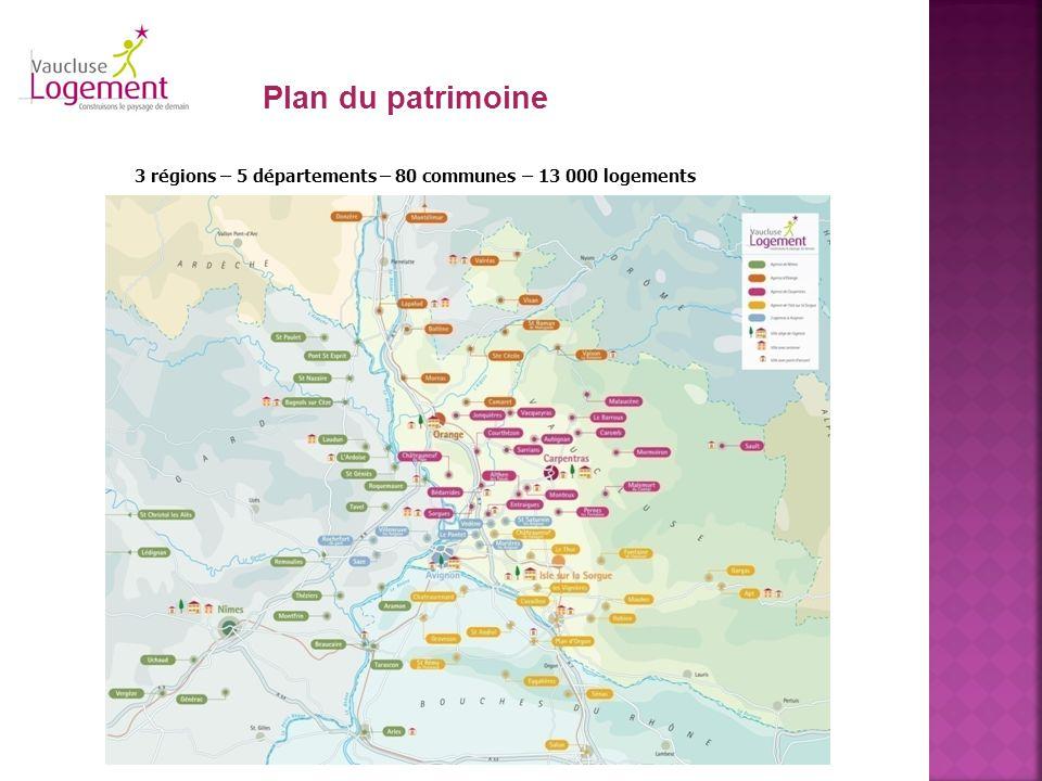 Plan du patrimoine 3 régions – 5 départements – 80 communes – 13 000 logements