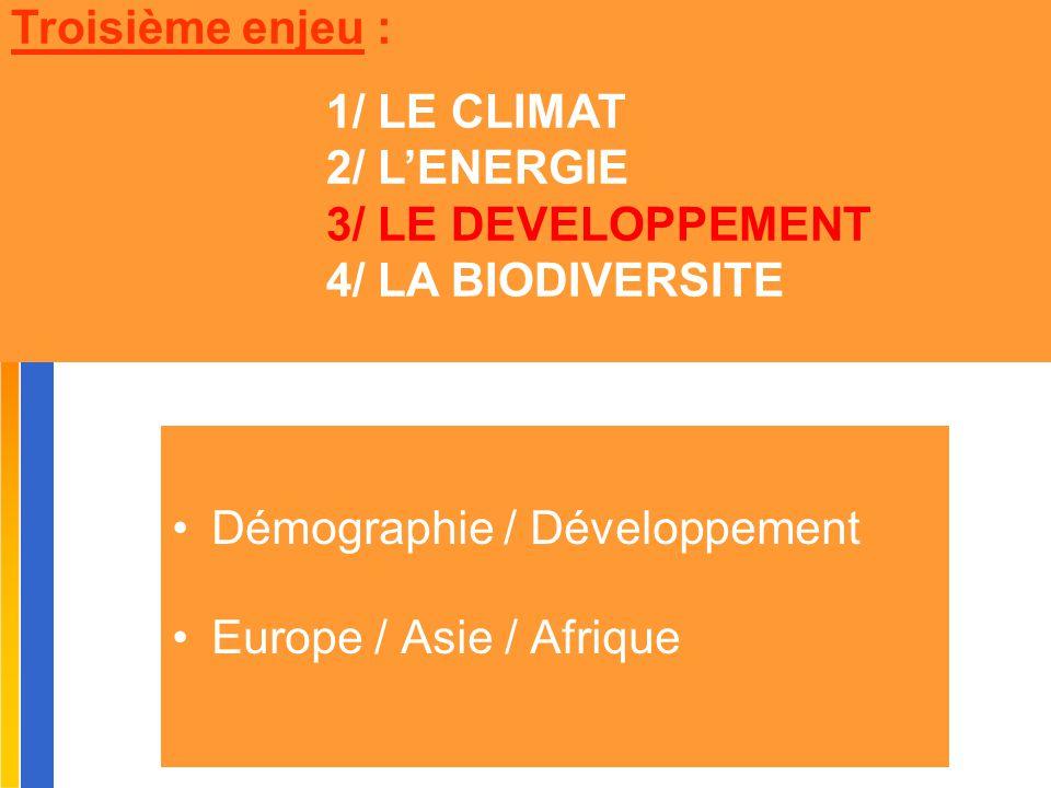 Démographie / Développement Europe / Asie / Afrique