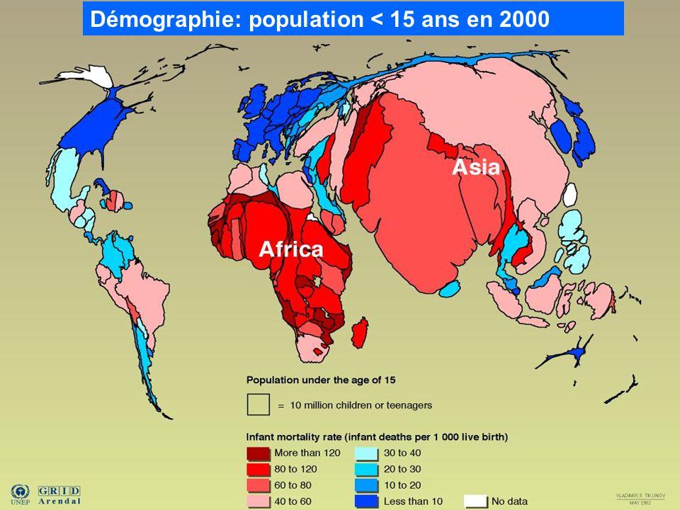 Démographie: population < 15 ans en 2000