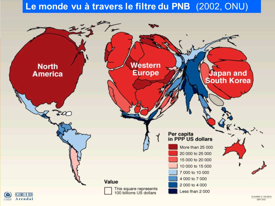 World gross product Le monde vu à travers le filtre du PNB (2002, ONU)