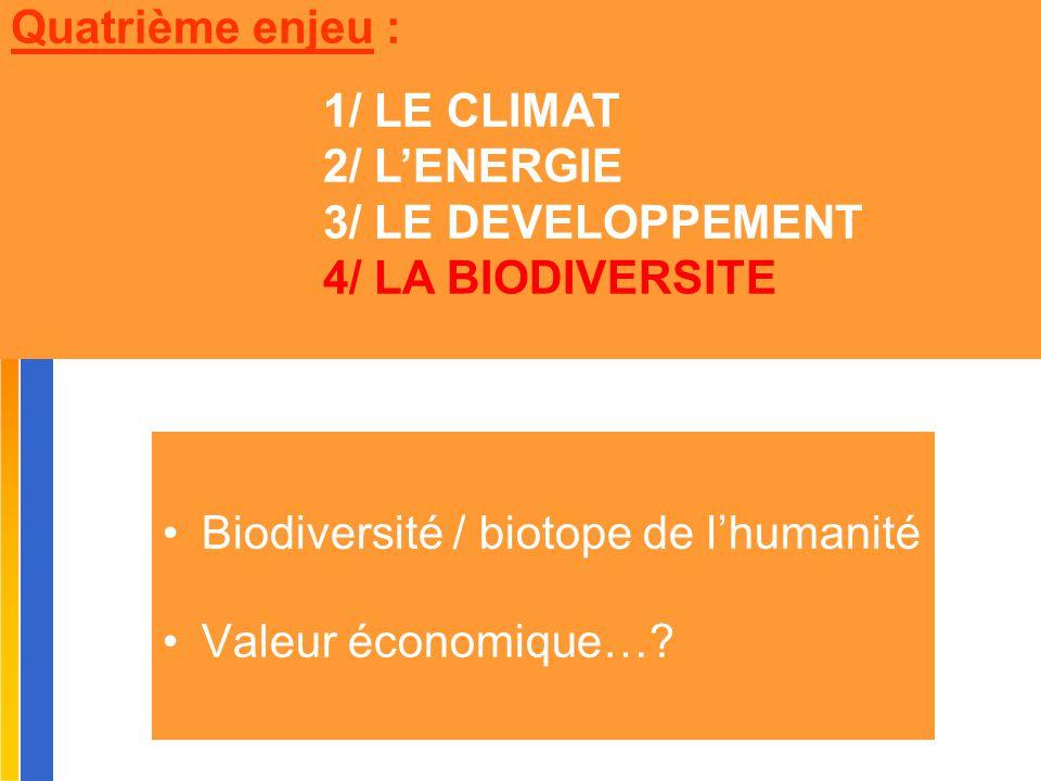 Biodiversité / biotope de l'humanité Valeur économique…