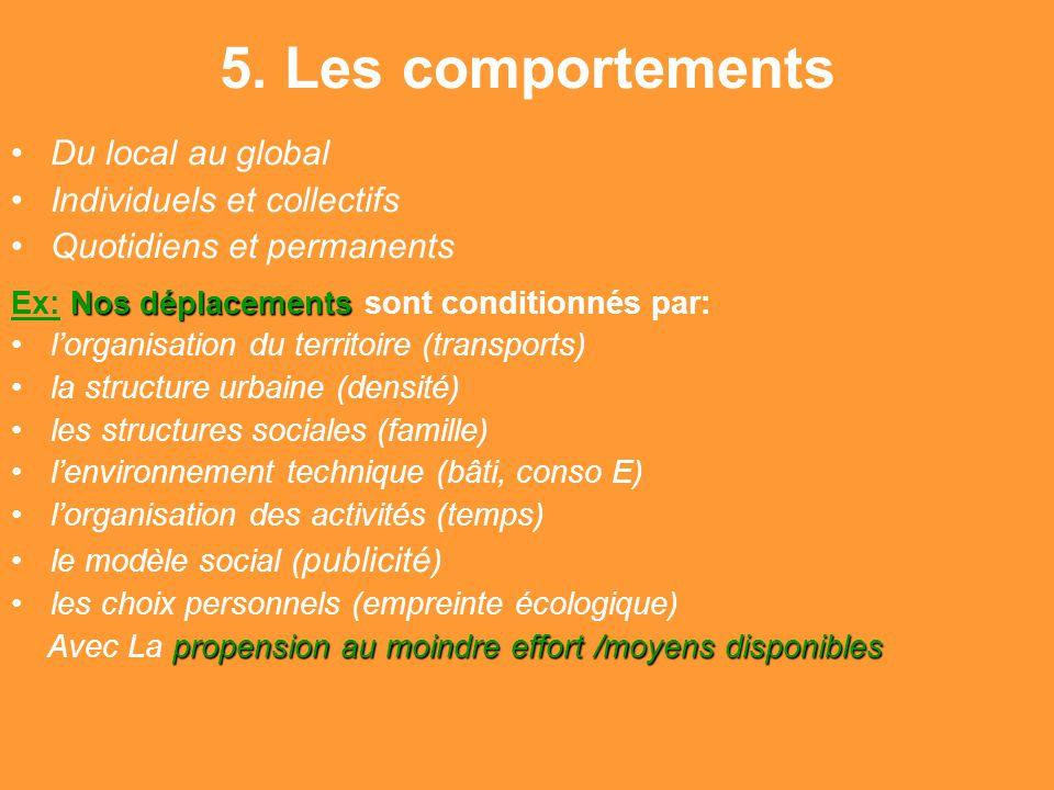 5. Les comportements Du local au global Individuels et collectifs