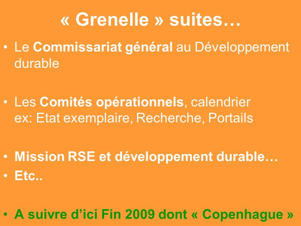 « Grenelle » suites… Le Commissariat général au Développement durable