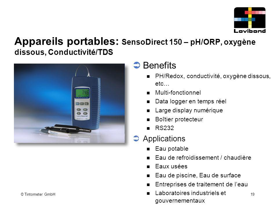 Appareils portables: SensoDirect 150 – pH/ORP, oxygène dissous, Conductivité/TDS