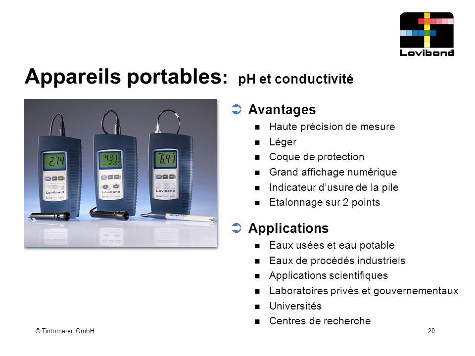 Appareils portables: pH et conductivité