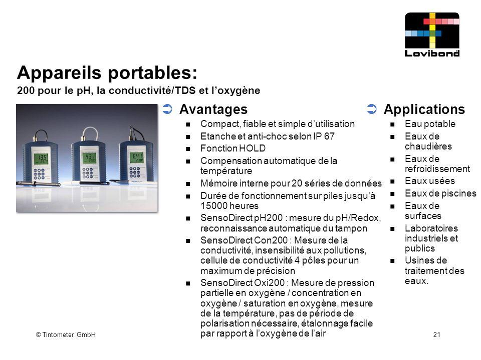 Appareils portables: 200 pour le pH, la conductivité/TDS et l'oxygène