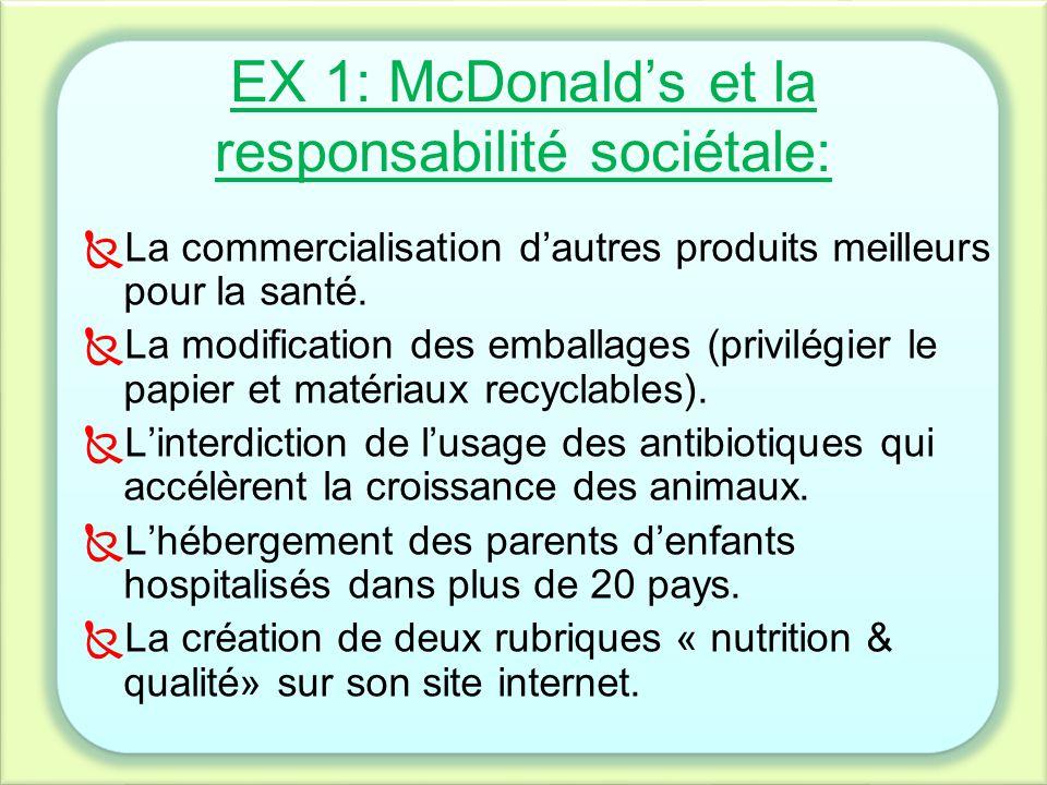 EX 1: McDonald's et la responsabilité sociétale: