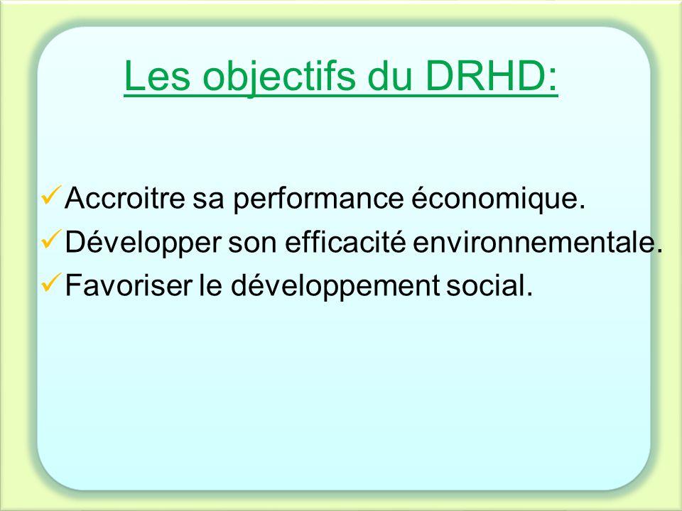 Les objectifs du DRHD: Accroitre sa performance économique.