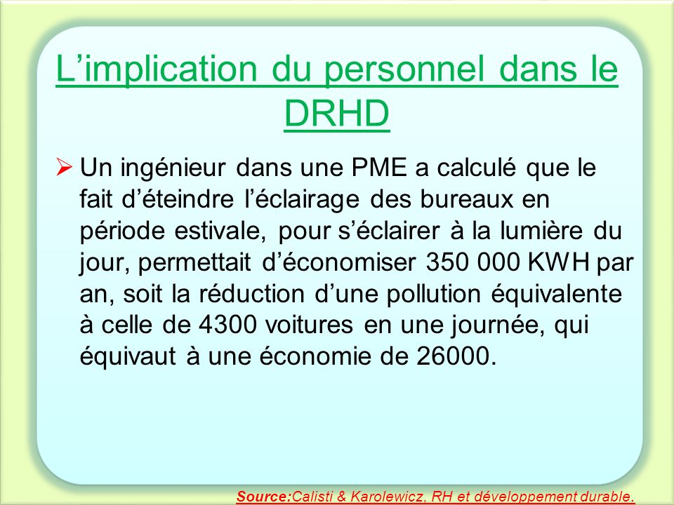 L'implication du personnel dans le DRHD