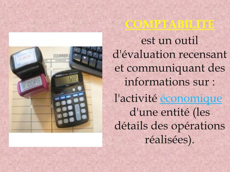 COMPTABILITE est un outil d évaluation recensant et communiquant des informations sur :
